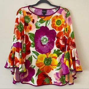 Floral Flared-Sleeve Top